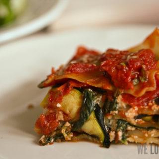Lasagne mit gebratenen Zucchini und Spinat